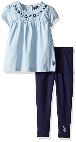 U.S. Polo Assn. Little Girls' Toddler Short Sleeve Chambray Top and Knit Legging, Peacoat, 2T (Sleeve Mädchen Short Knit Top)