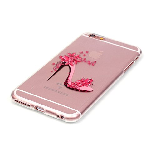 iPhone 6 Hülle Case,iPhone 6S Hülle Case,Gift_Source [Crystal Bumper] Fashion Colorful Silicone Protective Hülle Case Premium Flexible Transparent Soft TPU Slim Hülle Case Cover für Apple iPhone 6s /  E01-04-High-heeled shoes