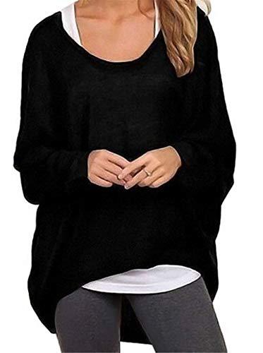 Meyison Damen Lose Asymmetrisch Sweatshirt Pullover Bluse Oberteile Oversized Tops T-Shirt Schwarz XL