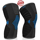 Scuddles Compression Knee Sleeve - Best Knee Brace Meniscus Tear, Arthritis, Quick Recovery Etc. ã ₠†Knee Support Running, Crossfit, Basketball Other Sports (Blue, Large)