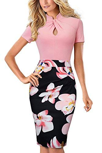 HOMEYEE Damen Vintage Stehkragen Kurzarm Bodycon Business Bleistift Kleid B430 (EU 36 = Size S, Hellrosa)