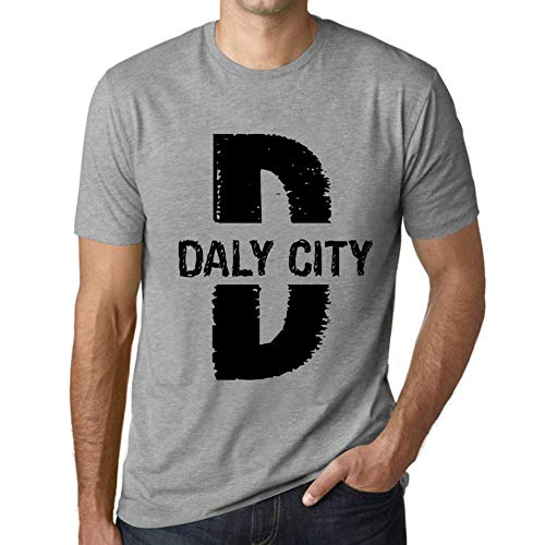 Herren Tee Männer Vintage T shirt Letter D Countries and Cities DALY CITY Grau Meliert