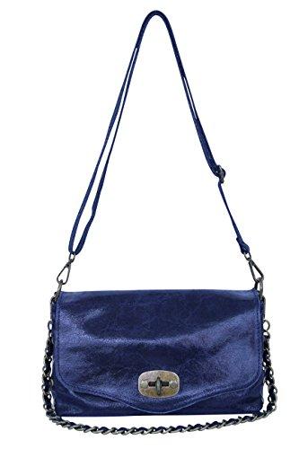 AMBRA Moda Damen Ledertasche Handtasche Schultertasche Clutch WL802L Dunkelblau