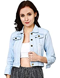 Shocknshop Ripped 3/4 Sleeves Comfort Fit Regular Sky Blue Denim Jacket for Women (JKT05)
