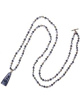 KELITCH Neueste Länge Perlen Anhänger & Halskette Rund Natürlich Stein Sakyamuni Buddha Halskette (Schwarz)