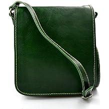 Bolso de cuero bandolera de piel cartero verde de hombre de mujer de cuero bolso de