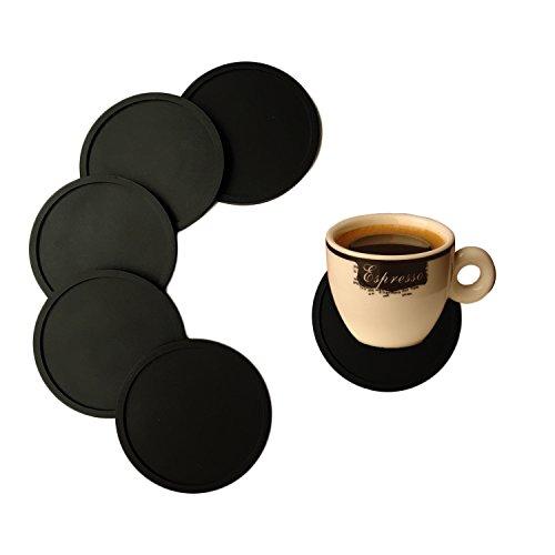 Silikonuntersetzer für Kaffee, Getränke, aus Gummi, glatt, langlebig, rutschfest, 6er-Set, schwarz