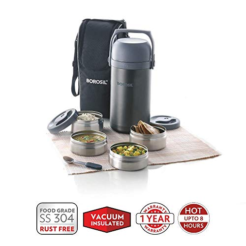 Borosil Hot-N-Fresh Stainless Steel Insulated Lunch Box, Set of 4 (2pcs 350 ml + 2pcs 420 ml), Grey