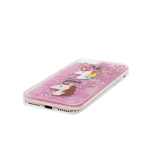 iPhone 7 Custodia, Glitter Scintillante che scorre scintillio trasparente / Case iPhone 7 copertura, Cover Shell Graffi Resistenti / unicorno unicorn Cartoon Rainbow / ring supporto Color 3