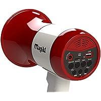 Magikl Mégaphone Porte Voix - Puissant et Léger - Sirène, Lecteur MP3 et Enregistreur - Batterie Rechargeable et Câble de Charge USB Inclus - Idéal Groupes et Soirées