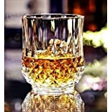 PrimeWorld Deluxe Lead Free Crystal Whiskey Glasses Set of 6 Pcs 300 ml 1 Oz Unique Bourbon Glass, Ultra-Clarity Double Old Fashioned Glasses