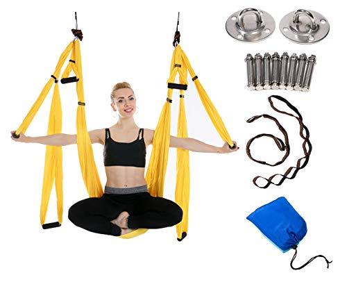 Amaca yoga antigravity,altalena yoga - praticando yoga aerea - pratica dei pilates - esercizi di inversione, flessibilità migliorata e resistenza del nucleo - accessori di montaggio inclusi (giallo)