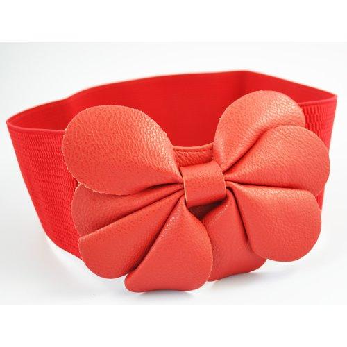 Gleader Correa de Cintura Cinturon Ancho Elastico Cuero de Imitacion Decoracion de Flores para Mujeres - Rojo