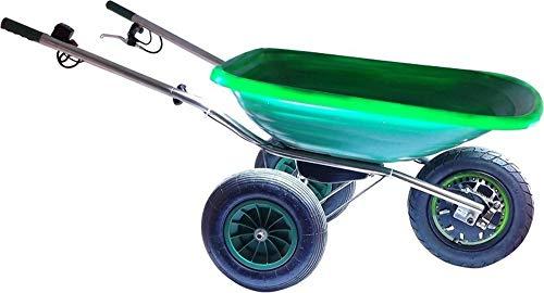 Smartwiel DELUXE AKKUSCHUBKARRE ELEKTROSCHUBKARRE MOTORSCHUBKARRE TRAGFÄHIGKEIT: 150 kg (85 l, Grün) Li-Ion AKKU, RÜCKWÄRTSGANG BREMSE, STÜTZRÄDER, LED-HINTERLEUCHTUNG