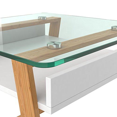 bonVIVO Pablo, Moderner Beistelltisch Für Wohnzimmer, Designer Beistelltisch Mit Glas-Platte Und Holzgestell, Beistelltisch Eckig Mit Weiß-Lackierter Ablagefläche