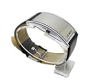 Mon112 montre simili cuir led miroir noir classique for Miroir noir dvd