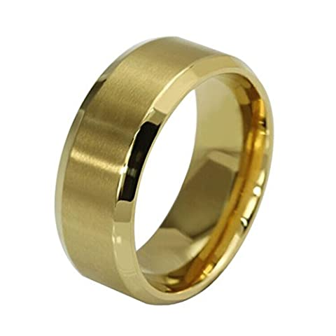 LHWY New Stainless Steel Ring Band Titanium Silver Black Gold Men SZ 7 to 11 Wedding (Stainless Steel(gold color),