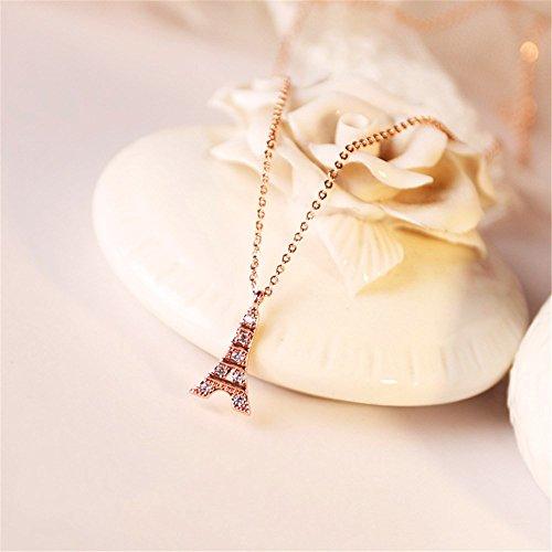 KOMO Mode Frauen 925 Sterling Silber Anhänger Halskette einfach und süß student Geschenkideen tower Anhänger Schlüsselbein Halskette
