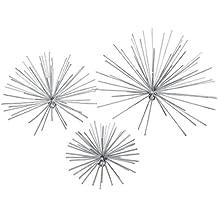 3Stück Silber Finish Exploding Feuerwerk Sterne 3D Metall Wand Skulptur Set