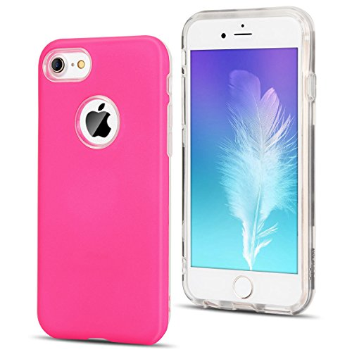 Cover iPhone 7 / iPhone 8 (4.7 Pollici) Spiritsun iPhone 8 Custodia TPU+PC Handy Moda Elegante Case Cover Soft + Hard Silicone Back Cover Protezione Bumper Funzione Shell Morbida Flessible TPU Cover P Rosa