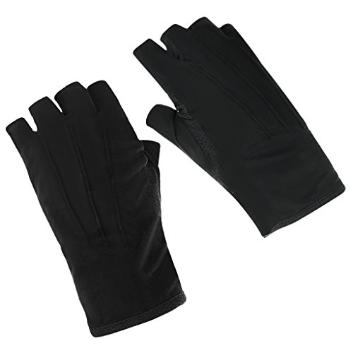 Sommer Halbfinger Handschuhe Baumwolle Fahrradhandschuhe Kurz Spitzenhandschuhe Anti-Rutsch, Anti-UV Schutz, Dünn Sonnenschutz Fäustlinge Gloves,Schwarz A,Einheitsgröße Schwarzen Handschuhen