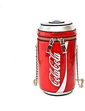 Ykunjade High Quality PU Leather Children Coca-Cola Cans Package Mini Bag Crossbody Schultertaschen