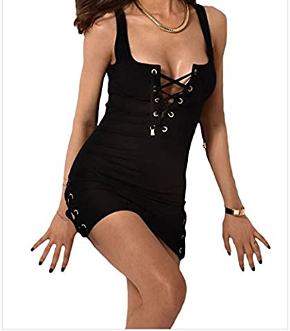 Bling-Bling Lace Up Grommet Accent Bodycon Tank Dress(Black,M)