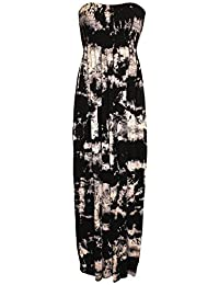 Neue Damen Scheren boobtube Maxi-Kleid Frauen trägerlosen lange Maxi gedruckt Sommerkleid Größe S/M- m / l