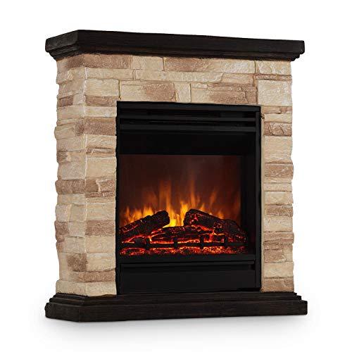 Klarstein Kaprun • Elektrischer Kamin • Elektro-Kamin • Kamin elektrisch • 1800 W • Flammeneffekt • Steindekor • Polystone • Fernbedienung • schwarz-braun
