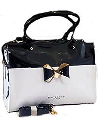 Alisha Creation Traditional Leather Black And White Color Handbag For Women And Girls