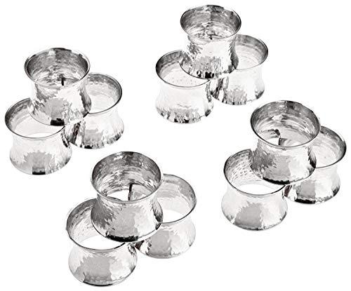 SKAVIJ Silber Metall Solide Gehämmert Serviettenring-Set für Esstischdekoration (12 stück)
