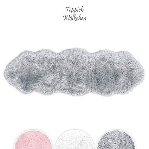 Teppich Wölkchen Lammfell-Teppich Lang Kunstfell Schaffell Imitat | Wohnzimmer Schlafzimmer Kinderzimmer | Als Faux Bett-Vorleger oder Matte für Stuhl Sofa (Grau - 55 x 160 cm) -