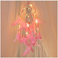 Reasoncool Handmade Dreamcatcher Feathers Night Light Circles Pendant Wind Chimes Lamp Car Wall Hanging Room Ornament Home Decor (Pink)