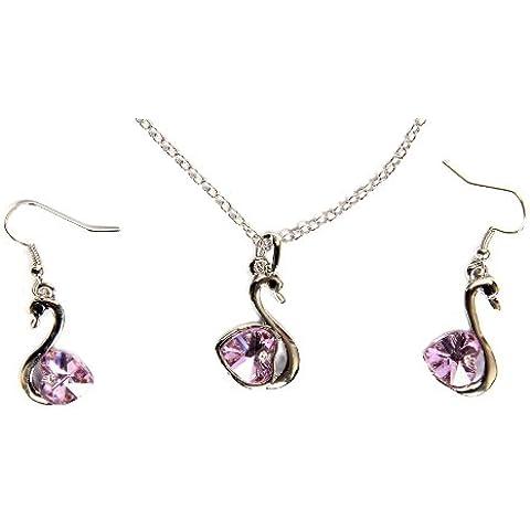 FreshGadgetz Set de 1 joyas con forma de cisne con pendientes y collar de diseño único