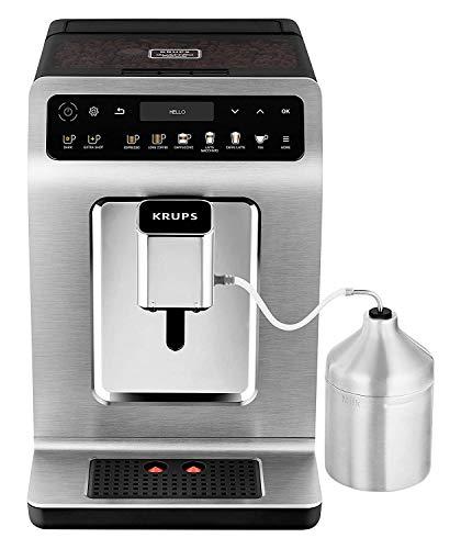 Krups EA894T Evidence Plus Kaffeevollautomat (automatische Reinigung, 2-Tassen-Funktion, OLED-Display, 15 bar, Espresso-Kaffee-Maschine, Kaffeeautomat) Titanium-Metallic