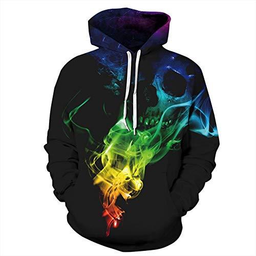 Westtreg Top Designed Hoodies Männer/Frauen 3D Sweatshirts Drucken Bunte Rauch Schädel Dünne Unisex Mit Kapuze Hoodies Hoody, M