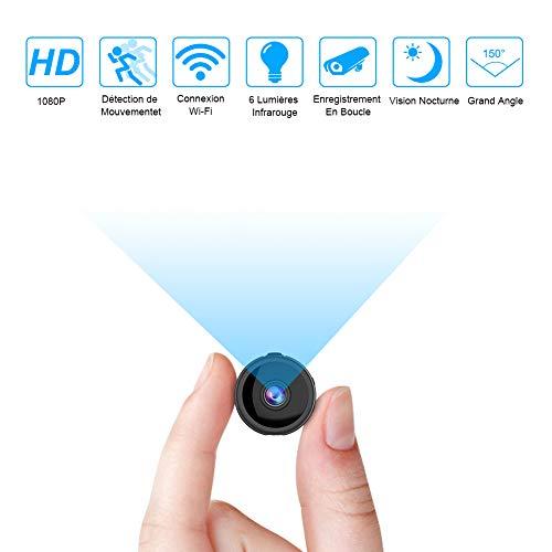 Mini Camera Espion WiFi, Full HD 1080P Caméra Cachée Spy sans Fil avec Vision Nocturne et Détection de Mouvement Micro Caméra de Surveillance de Sécurité Béb