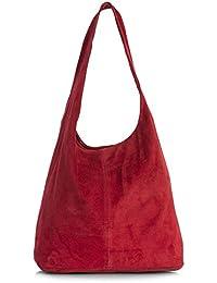 LiaTalia Große echte italienische Veloursledertasche-einzelner Schultergurt Hobo Nietentasche mit schützender Aufbewahrungstasche - Shay