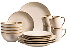 MÄSER 931736 Service de table 16 pièces en céramique pour 4 personnes Style méditerranéen vintage Gris sable
