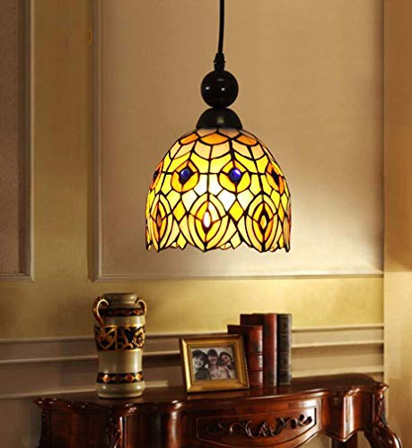 Tiffany-Stil Hängelampe, Glasmalerei Art Shade Single Head 1-Light Pendelleuchte für Bar Wine House Mini Leuchten Legierung, 110-240V / E27 × 1 - 20w Single Light Mini