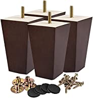 Wood Furniture Legs, Tchosuz 4 Pieces Square Tapered Walnut Sofa Legs with Rubber Floor Protectors & Screw