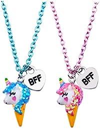 Skywisewin Collier pendentif Unicorn pour les enfants, collier pendentif licorne de glace pour le meilleur ami de l'enfant bijoux - 2 paire