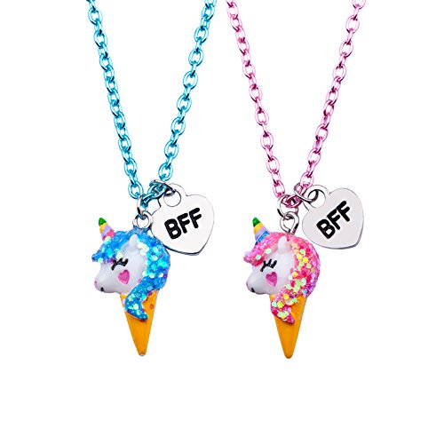 Skywisewin Einhorn Anhänger Halskette für Kinder, EIS Einhorn Anhänger Halskette für Kinder Beste Freund Schmuck - 2 Paar