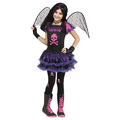 Pink Totenkopf Fee Kostüm für Kinder Large