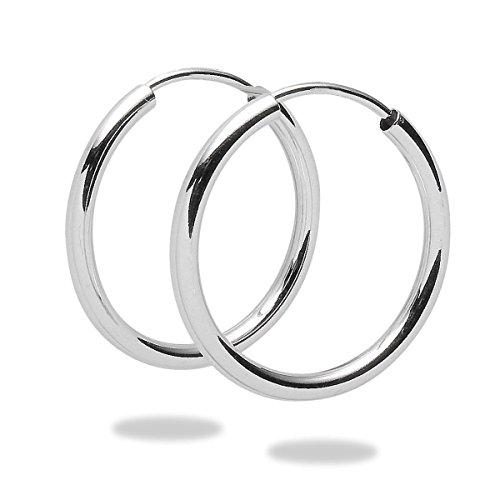 Rafaela Donata Damen-Creolen 925 Sterling Silber 20mm rund - Basic Ohrringe für Damen Silberohrcreolen 60800080