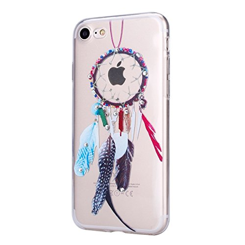 iPhone 7 Case Transparent Glitzer Silikon Case,iPhone 7 Glitzer Transparent Hülle,iPhone 7 Clear TPU Case Hülle Cristall Silikon Gel Schutzhülle Etui für iPhone 7 4.7 Zoll,EMAXELERS iPhone 7 (4.7 Zoll Feather 1