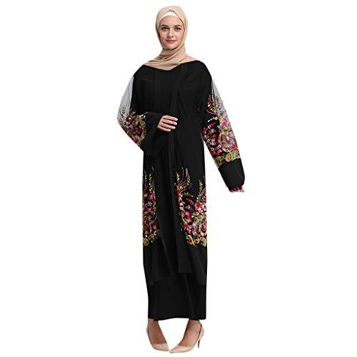 TIFIY Kleid Damen Muslimische Frauen Islamische Sommer Langarm Langes Maxikleid Gestickte Mesh-Jacke Mesh Robe Fringe Belt Islamische Marokkanische KleidungKleid Arabische Open Strickjacke(Schwarz,L) -