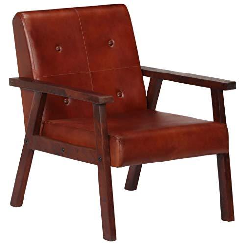 Festnight- Sessel Relaxsessel Liegesessel Fernsehsessel Polsterstuhl für Esszimmer & Wohnzimmer Braun 61 x 70 x 74 cm Echtleder