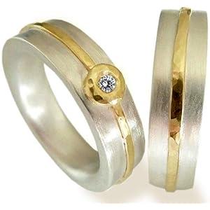 Eherringe aus Silber mit Gelbgold und Brillant - handgefertigt by SILVERLOUNGE