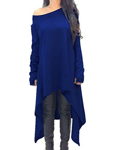 Donna Asimmetrico vestito dal knit allentato Casual maglia ponticello vestito di un pezzo lavorato a maglia Felpa Pullover oversize per l'autunno inverno (l, blu)